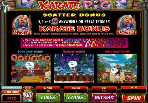 Правила бонусных игр в автомате Karate Pig