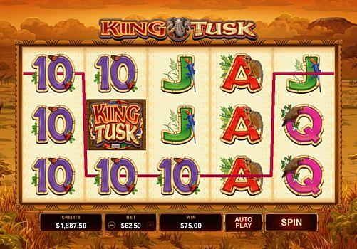 Выигрышная комбинация символов в автомате King Tusk