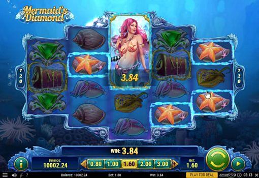 Выигрышная комбинация с диким знаком в автомате Mermaids Diamond