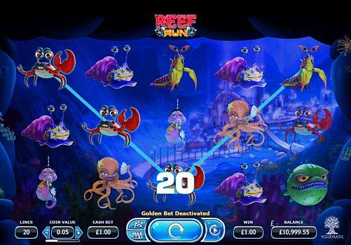 Выигрышная комбинация символов в автомате Reef Run