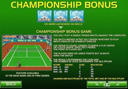 Правила бонусной игры в автомате Tennis Stars