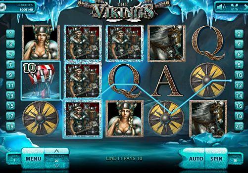 Выигрышная комбинация на линии в автомате The Vikings