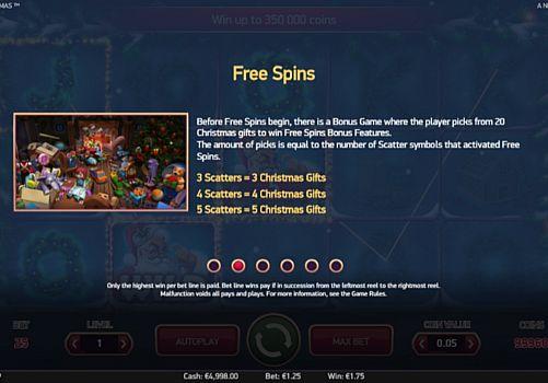 Правила фриспинов в игре Secrets of Christmas