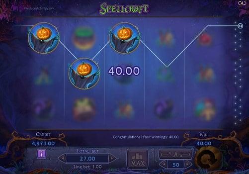 Игровой аппарат Spellcraft - комбинация символов на линии