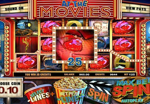 Призовая комбинация символов в игровом автомате At the Movies