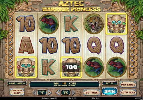 Призовая комбинация на линии в игровом автомате Aztec Warrior Princess