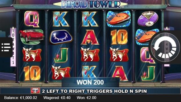 Призовая комбинация символов в игровом автомате Diamond Tower