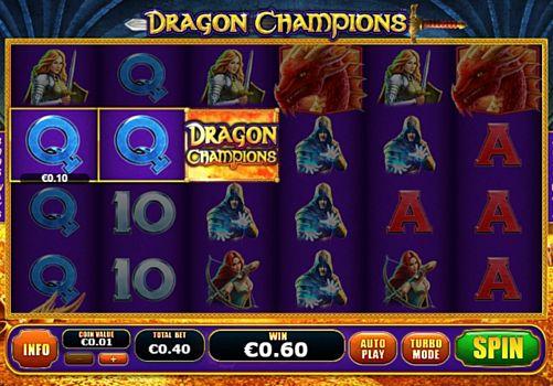 Призовая комбинация с диким знаком в игровом автомате Dragon Champions