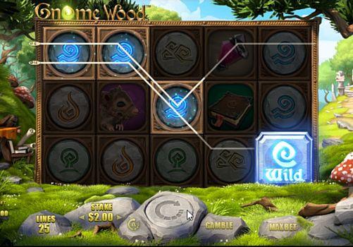 Призовая комбинация символов в игровом автомате Gnome Wood