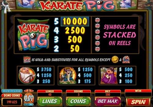 Таблица выплат в игровом автомате Karate Pig
