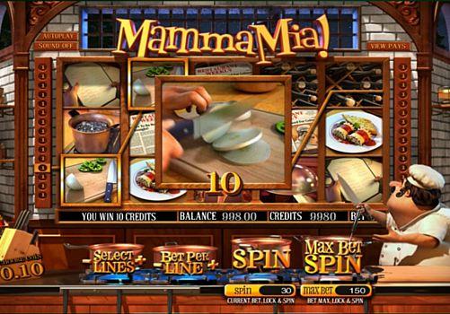 Выигрышная комбинация на линии в игровом автомате Mamma Mia