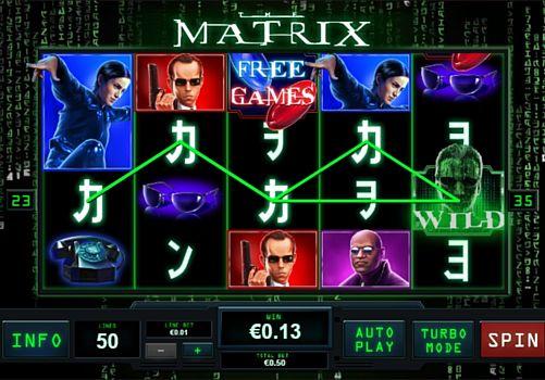 Призовая комбинация символов в игровом автомате Matrix