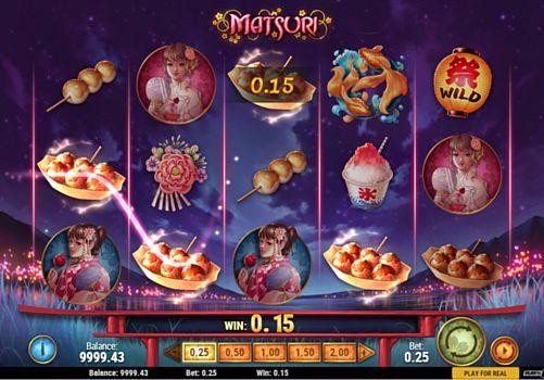 Выплаты за призовую комбинацию в игровом автомате Matsuri