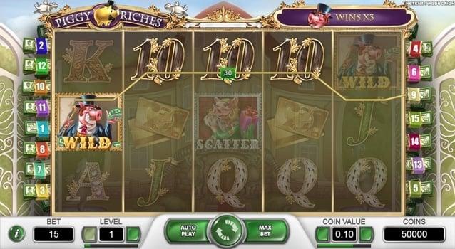 Призовая комбинация в игровом автомате Piggy Riches