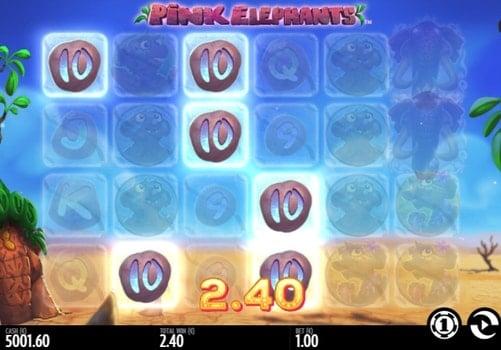 Призовая комбинация на линии в игровом автомате Pink Elephants