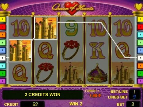 Призовая комбинация символов в игровом автомате Queen of Hearts