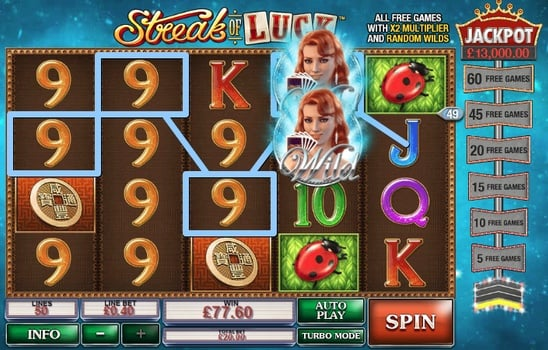Призовая комбинация с Wild в игровом автомате Streak of Luck