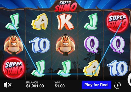 Призовая комбинация символов в игровом автомате Super Sumo