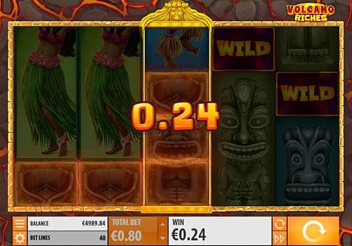 Призовая комбинация символов в игровом автомате Volcano Riches