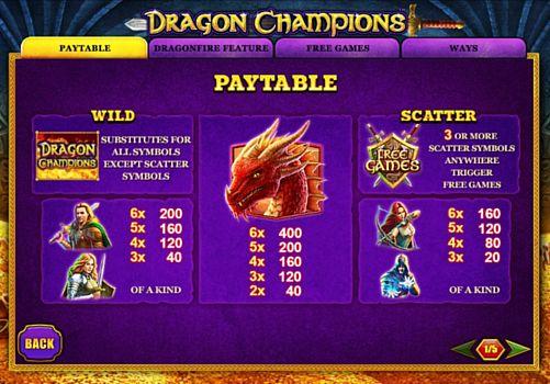Выплаты за символы в онлайн аппарате Dragon Champions
