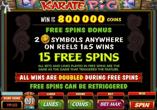 Правила фриспинов в онлайн аппарате Karate Pig