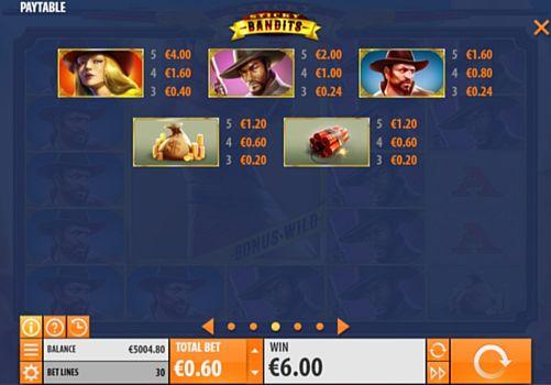Таблица выплат в онлайн аппарате Sticky Bandits