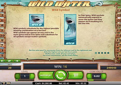 Дикий знак в онлайн аппарате Wild Water