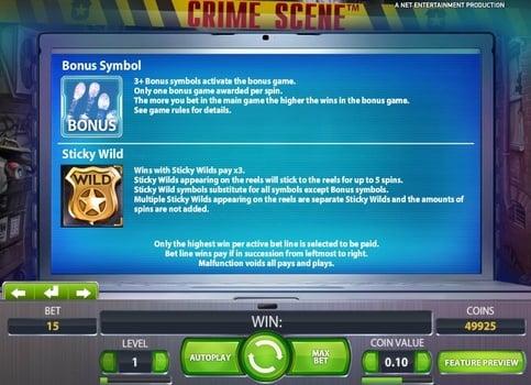 Символы Bonus и Wild в онлайн слоте Crime Scene