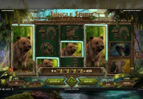 Выигрышная комбинация в онлайн слоте Jungle Spirit Call of the Wild