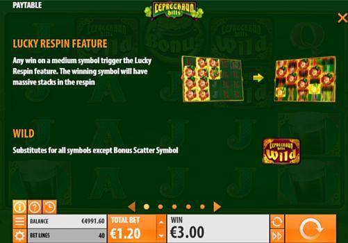 Правила респинов в онлайн слоте Leprechaun Hills