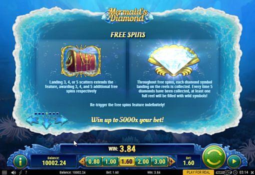Описание фриспинов в онлайн слоте Mermaids Diamond