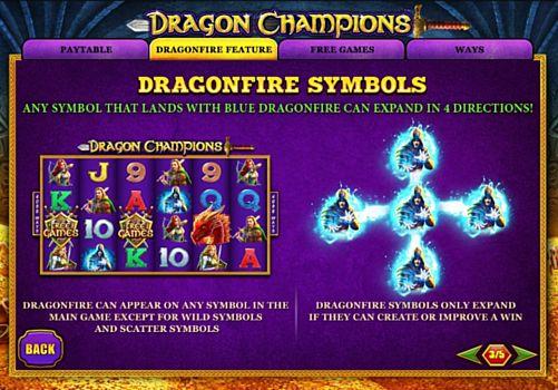 Описание игрового бонуса в слоте Dragon Champions